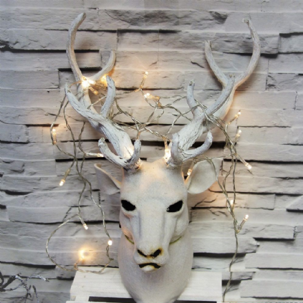 White Snow Covered Stag Head Wall Decoration